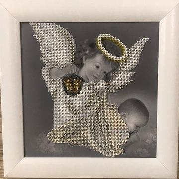 Obraz - haft koralikowy - Anioł Stróż