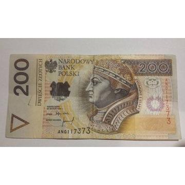 Banknot 200 zł o nr AN0117373 (1994r.)