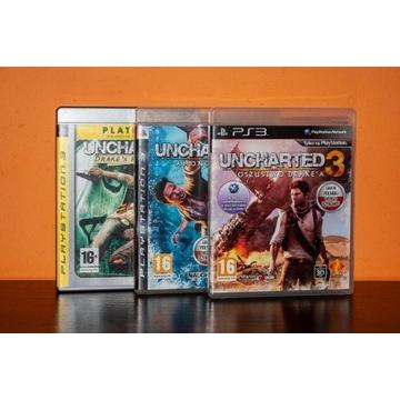 Zestaw gier serii Uncharted PS3 (1, 2, 3)