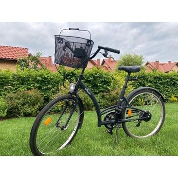 Rower miejski B'twin z koszykiem - czarny mat