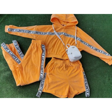 Dres Welur Orange neon set szorty spodnie s/m