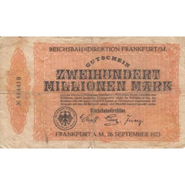 200 mln marek Frankfurt 1923 kolejowy