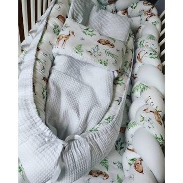 wyprawka dla niemowlak , kokon, warkocz, pościel
