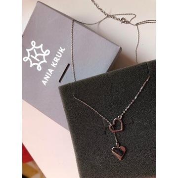 Naszyjnik srebrny z serce i symbolem pik Ania Kruk