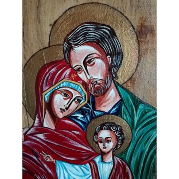 Święta rodzina, obraz ręcznie malowany na drewnie