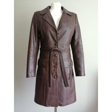 Płaszcz skórzany skóra naturalna brąz roz. S