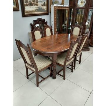 Klasyczny DĘBOWY komplet stół i 6 krzeseł #
