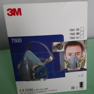 Półmaska 3M 7500 Model 7502(M) NOWY- CALY KOMPLET