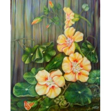 """Obraz """"Nasturcja"""", akryl na płótnie , 50x 40 cm,"""