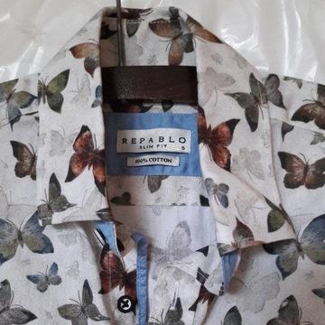 biała koszula w motyle S letnia fullprint kolorowa