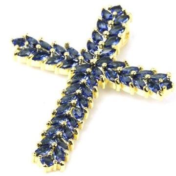 Krzyż Tanzanit Srebro 925 Pozłacany 14 K złotem