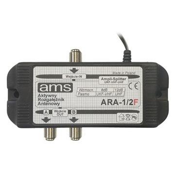 Rozdzielacz DVBT wzmacniacz anteny AMS ARA na 2 TV