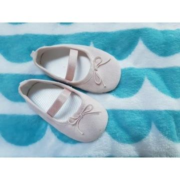 Buciki buty też do chrztu HM pudrowy róż stan bard