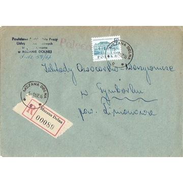 Mszana Dolna - Koperty listów poleconych 1960-80