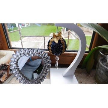 Bombka czarno-złota cekiny cyrkonie kryształki 19c