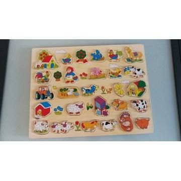 Tablica z drewnianymi dla dzieci - farma