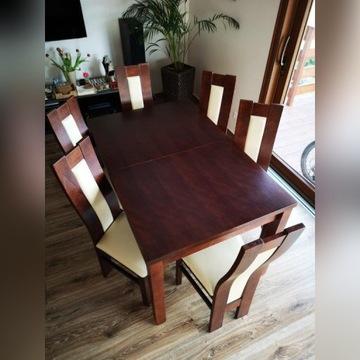 Stół rozkładany do jadalni/salonu + 6 krzeseł
