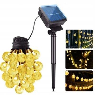 LAMPKI SOLARNE OGRODOWE GIRLANDY LAMPY 100LED 12M