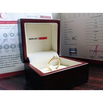 Złoty pierscionek, brylant 0.24 ct. Certyfikat!