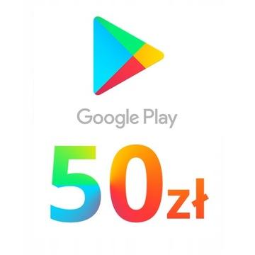 Google Play 50 PLN ZŁ PIN KOD Karta podarunkowa