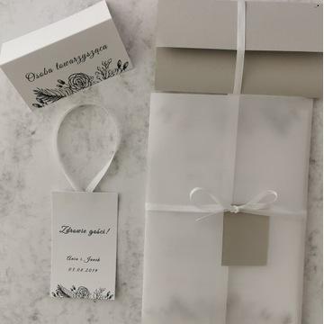 Winietki ślubne eleganckie personalizacja kalka