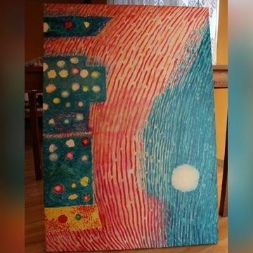 Obraz olejny abstrakcja 100/70 city lights