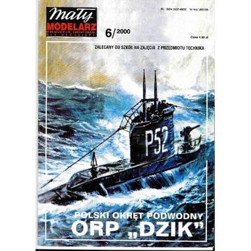 Mały modelarz 6 2000 ORP DZIK okręt podwodny model