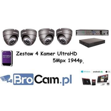 Zestaw 4 kamer 5mpx UHD 4-16 kamery monitoring
