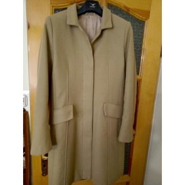 płaszcz beżowy 100%wełna damski,jedwabna podszewka