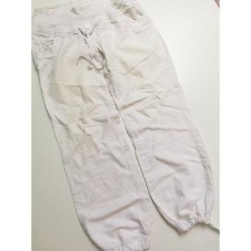Lato H&M mama Białe spodnie materiałowe ciążowe