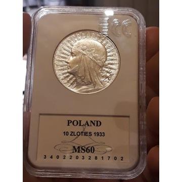 10 złotych 1933 głowa kobiety GCN MS60 piękna