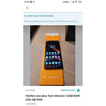 Telefon one plus 7pro Mclaren 12GB RAM /256 GB PAM