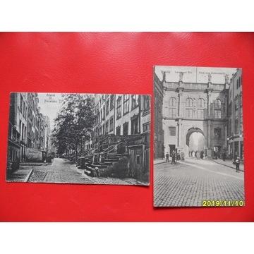 GDAŃSK 2 pocztówki Panieńska Złota Brama