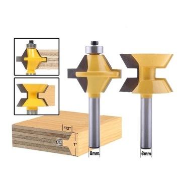 frez do drewna, 8 mm trzpień, komplet 2 sztuki