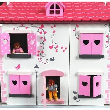 Drewniany domek dla lalek różowy + mebelki