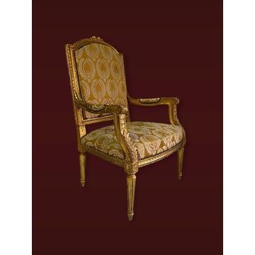 Królewski złocony fotel Ludwik XVI Francja XIX w.