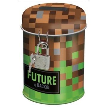 Metalowa skarbonka Minecraft z kluczykiem