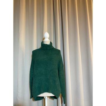 Zielony sweter golf oversize M