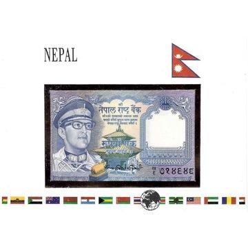 Koperta z banknotem Nepal