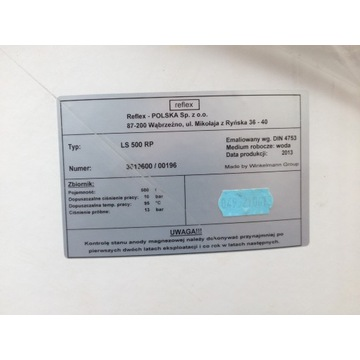 Boiler podgrzewacz wody elektyczny 500l REFLEX
