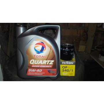 olej total quarz 5w40 + filtr oleju op 540/1