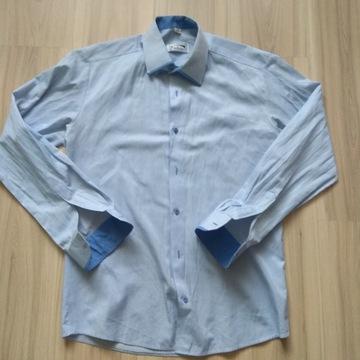 Męska koszula niebieska paski