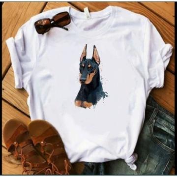Koszulka t-shirt doberman pies dog damska męska