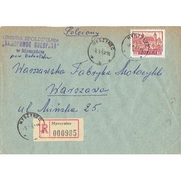 Myszyniec - Koperty listów poleconych 1960-80