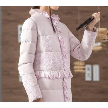 Długi zimowy płaszcz puchowy