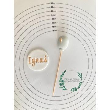 Ozdoby tabliczka balonik z masy cukrowej na tort