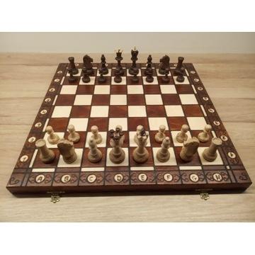 Drewniane szachy Senator w kasetce