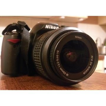 Nikon D3000+obiektyw Nikkor 18-55,karta 4GB, tanio