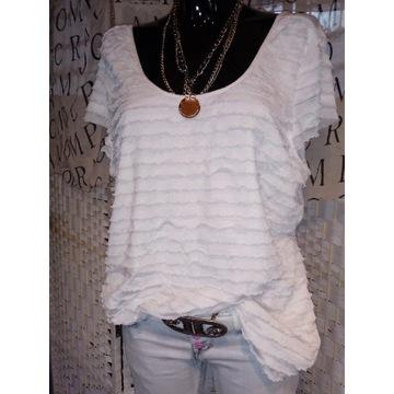 XL 42 biała bluzka koszulka top falbanki tunika