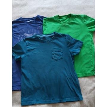 zestaw trzech bawełnianych koszulek 140-152 cm